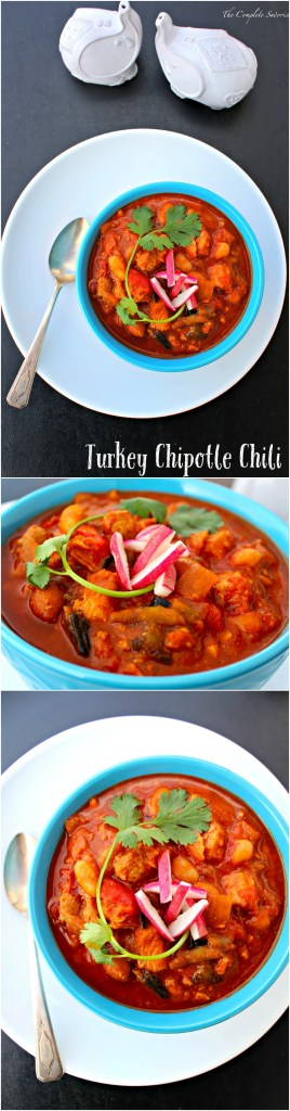 Turkey Chipotle Chili ~ A thick, deep, rich tomato based chili using two types of turkey, two types of beans, and two types of chiles slow cooked until you're ready to eat ~ The Complete Savorist #sundaysupper