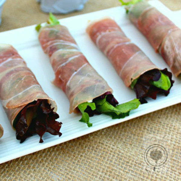 Prosciutto Wrapped Parmesan, Pears, and Greens - The Complete Savorist