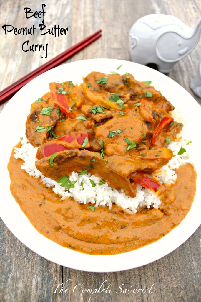 Beef Peanut Butter Curry ~ Thick and rich Thai-style curry with beef, bell peppers, peanut butter, lemongrass, and red curry paste ~ The Complete Savorist #SpreadtheMagic AD
