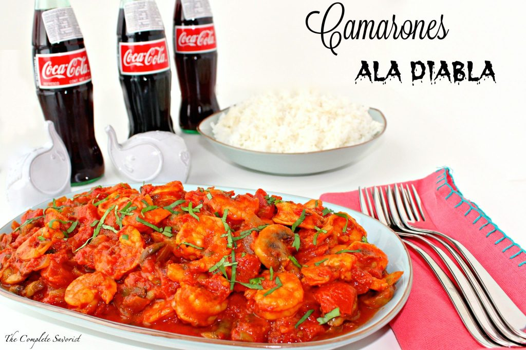 Camarones ala Diabla (Devil's Shrimp) ~ Shrimp in a spicy tomato based sauce with chipotle chilies in adobo, mushrooms, and onions and mildly sweetened using Coke de Mexico ~ The Complete Savorist #ShareHolidayJoy AD