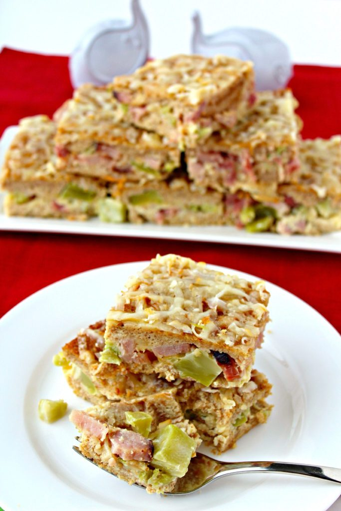 Ham & Broccoli Strata with Smoked Cheddar ~ Easy Breakfast Casserole with delicious ham, broccoli, and smoked cheddar in a luscious egg batter. Easily made the night before and ready to be tossed in the oven while the morning festivities are under way, ready when all the gifts are open ~ The Complete Savorist #ForTheLoveOfHam ad