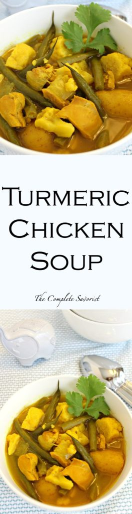 Turmeric Chicken Soup ~ Slow cooked (or not) chicken soup brightly hued yellow by turmeric with golden potatoes, green beans, and cauliflower ~ The Complete Savorist