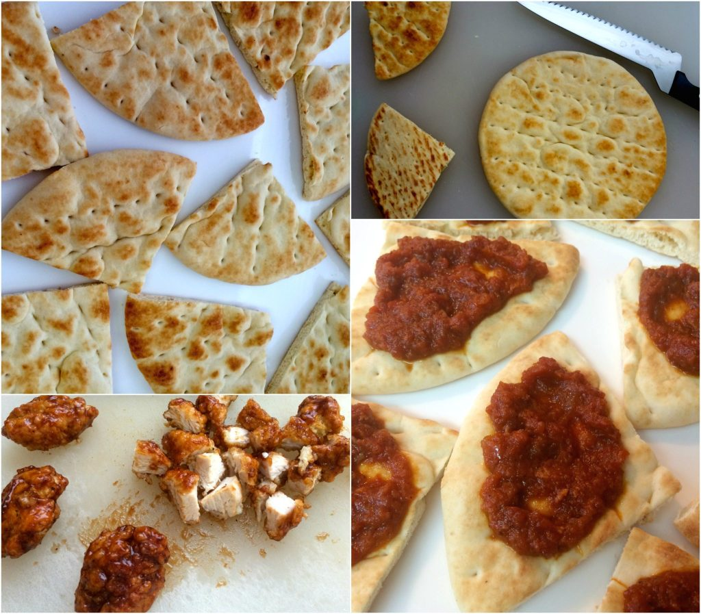 BBQ Chicken Pita Bites ~ Toasted Pita bread slathered with tomato bacon jam andchopped BBQ chicken pieces, then finishedwith cilantro and bleu or cheddar cheese.