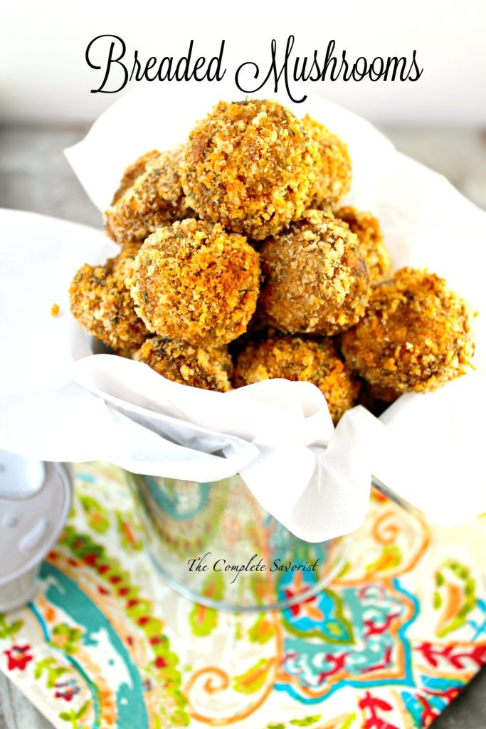 Baked Breaded Mushrooms ~ Button mushrooms coated in a seasoned breading and baked until golden brown and crispy ~ The Complete Savorist