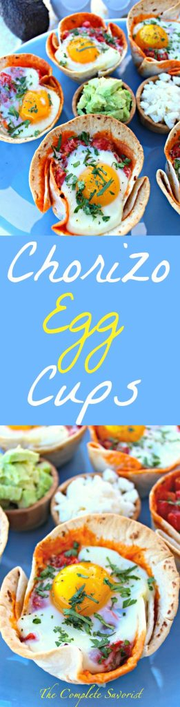 Chorizo Egg Cups ~ Flour tortillas molded into cups to hold refried black beans, chorizo, tomatoes with green chilies, and a egg, baked then topped with cilantro, queso fresco, and avocado. ~ The Complete Savorist #YesYouCAN ad