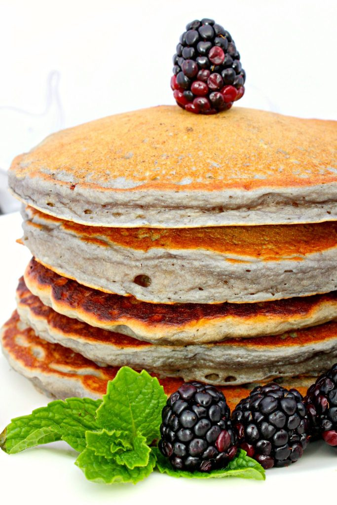 Blackberry Sour Cream Pancakes ~ Fluffy pancakes made with sour cream and blackberry sauce ~ The Complete Savorist