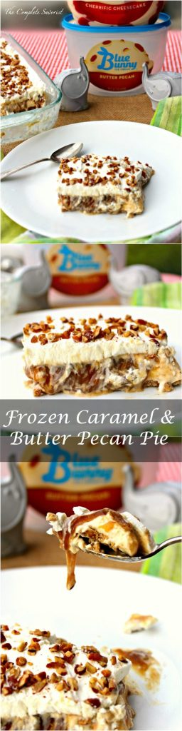 Frozen Caramel and Butter Pecan Pie ~ Brown sugar graham cracker crust, butter pecan ice cream, homemade caramel and whipped cream ~ The Complete Savorist #SoHoppinGood ad
