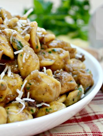Chicken Porcini Orecchiette ~ Porcini mushrooms, chicken, and orecchiette pasta cooked together and tossed with fresh parsley and Romano cheese ~ The Complete Savorist