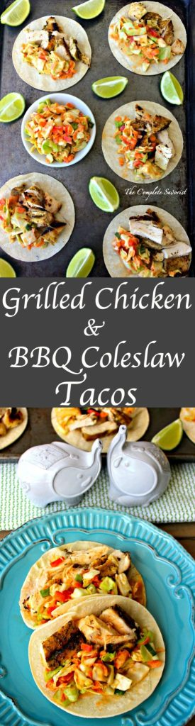 Grilled Chicken and BBQ Coleslaw Tacos ~ Dry rubbed chicken breast grilled, diced, and served in a warm grilled corn tortilla topped with a creamy spicy sweet bbq coleslaw ~ The Complete Savorist