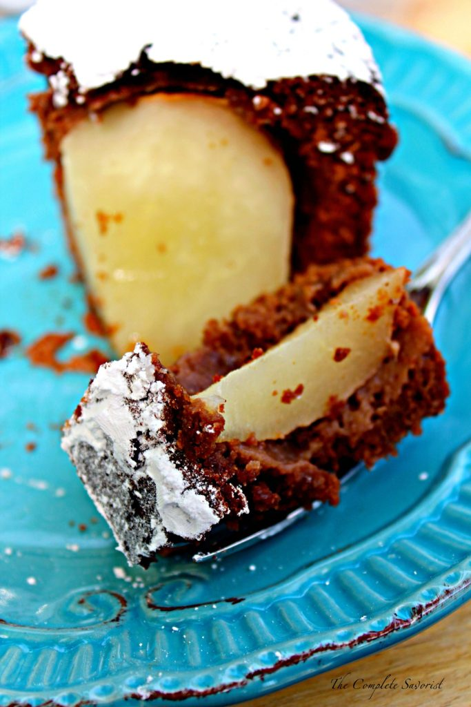 Chocolate Pear Cake ~ Rich and decadent chocolate cake with 4 pears baked whole inside, one fancy and tasty dessert for any occasion ~ The Complete Savorist