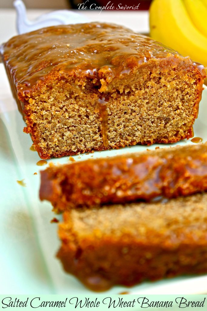 Salted Caramel Whole Wheat Banana Bread ~ Delicious banana bread made with freshly milled whole wheat flour topped with salted caramel ~ The Complete Savorist #mockmill ad