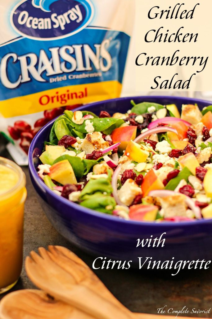 Grilled Chicken Cranberry Salad with Citrus Vinaigrette ~ Fresh bed of salad greens topped with dried cranberries, grilled chicken, blue cheese, apples and a citrus vinaigrette ~ The Complete Savorist by Michelle De La Cerda