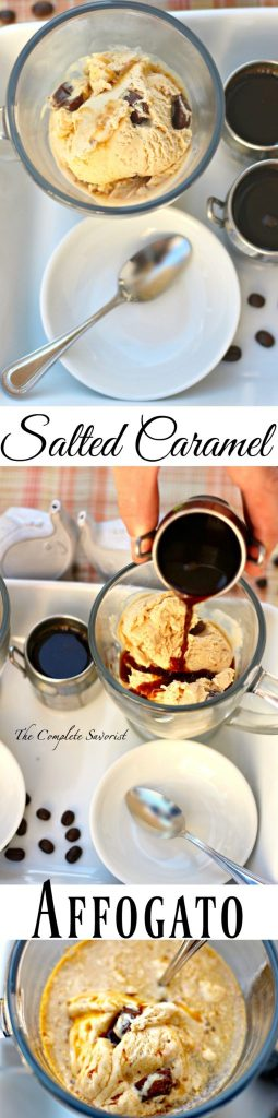 "Salted Caramel Affogato ~ Decadent Italian dessert of ""drowned"" ice cream and a shot of hot espresso; classic, simple, and combination bound to please all ~ The Complete Savorist"