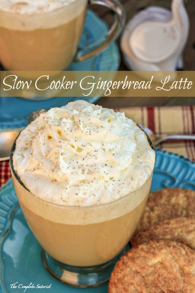 Slow Cooker Gingerbread Latte ~ Seasonal favorite blend of ginger, cinnamon coffee, half and half, and more, easily made in the slow cooker ~ The Complete Savorist #CoffeeCreamerCombos ad