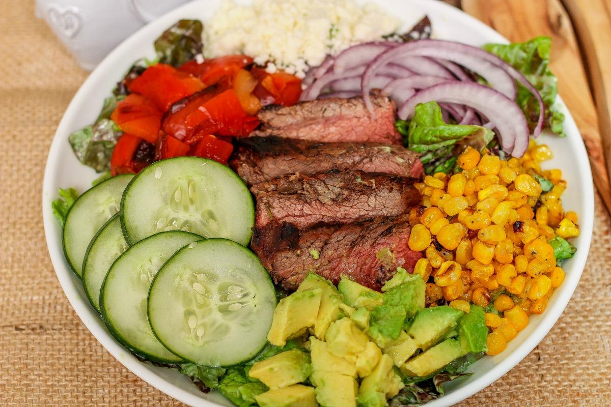 Steak Salad in a Creamy Avocado Dressing