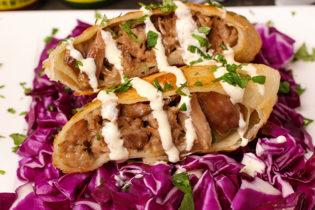 Mango Habanero Pork Mini Chimichangas ~ Slow cooked pork, shredded, wrapped, lightly fried mini chimichangas are perfect while watching your favorite team. ~ The Complete Savorist #KingOfFlavor ad