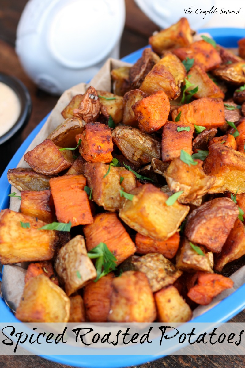 Spiced Roasted Potatoes ~ Three types of potatoes (sweet, red, and golden), diced and spiced then roasted; the perfect side dish to any meal ~ The Complete Savorist
