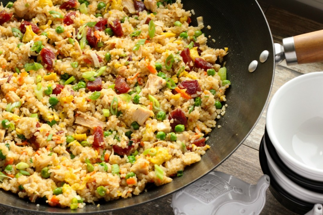 Chicken and Chinese Sausage Fried Rice ~ Traditional chicken fried rice with the added sweet and savory flavor of Chinese Sausage, made Vietnamese style ~ The Complete Savorist
