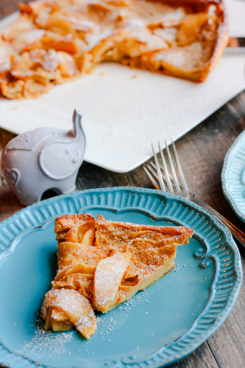 Cardamom Apple Dutch Baby ~ Giant skillet pancake, also known as a German pancake, is quickly made and cooked in a cast-iron skillet with fresh apples, caramel, and cardamom, turning the regular into decadence ~ The Complete Savorist by Michelle De La Cerda