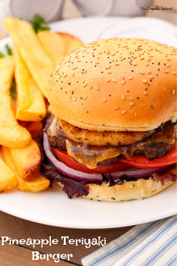 Pineapple Teriyaki Burgers ~ Sweet meets savory in a tropical explosion with this burger and its easy-to-find and often on-hand ingredients including pineapple and teriyaki sauce ~ The Complete Savorist by Michelle De La Cerda