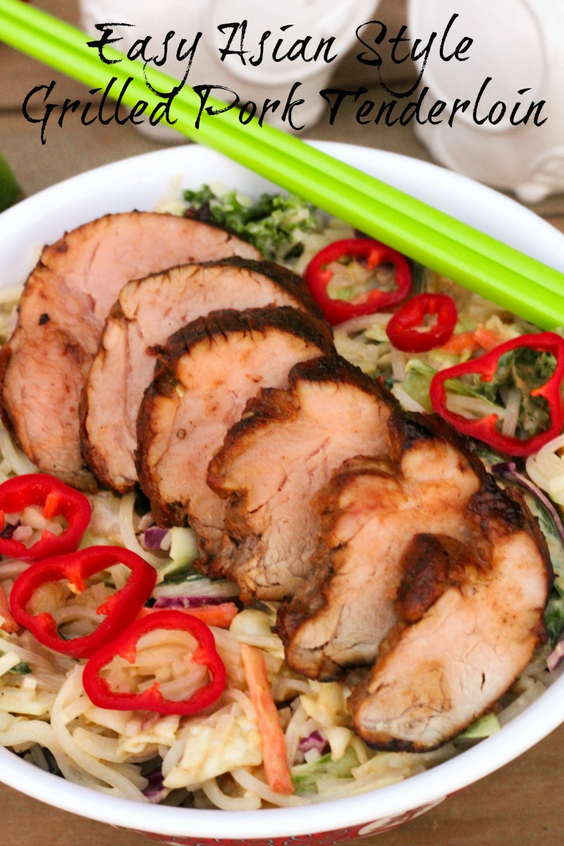 Easy Asian Style Grilled Pork Tenderloin ~ Succulent pork tenderloin marinated in a savory Asian inspired sauce and grilled to perfection ~ The Complete Savorist by Michelle De La Cerda