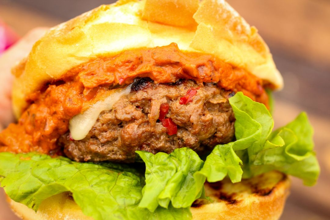 Messy but delicious, this Hungarian Goulash Inspired burger is going to be your new favorite.