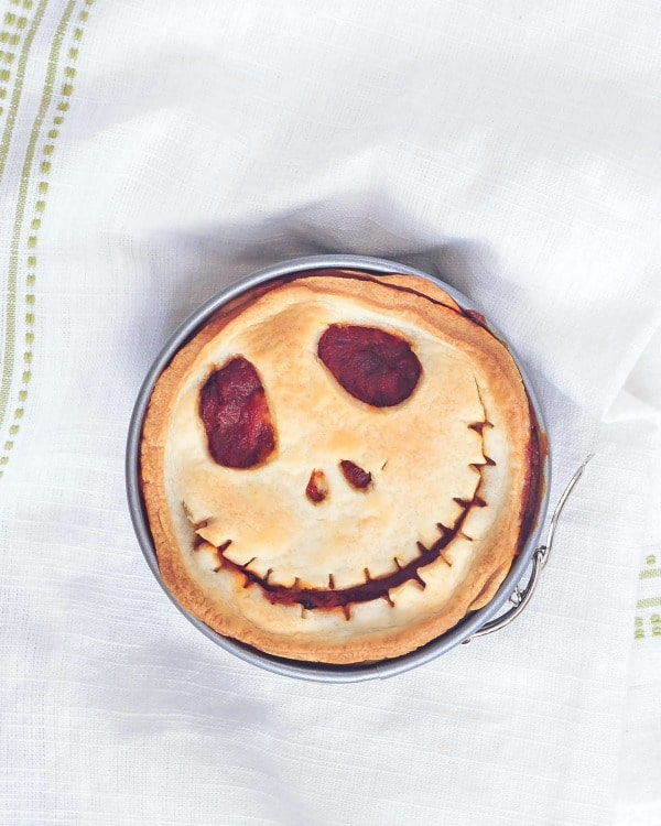 a Deep Dish Pizza Pot Pie with a Halloween Jack Skellington face
