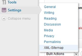 Settings XML Sitemaps WordPress