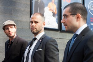 MONTREAL, QUE: SEPT. 21 2015 -- (From left to right) Tom Henheffer, Executive Director of CJFE, Simon Van Vliet , President of AJIQ, and Matt D'Amours talking during the press conference on police violence against journalist at Montr eal, on Monday, Sept., 2015. Photo by Marie-Pierre Savard.