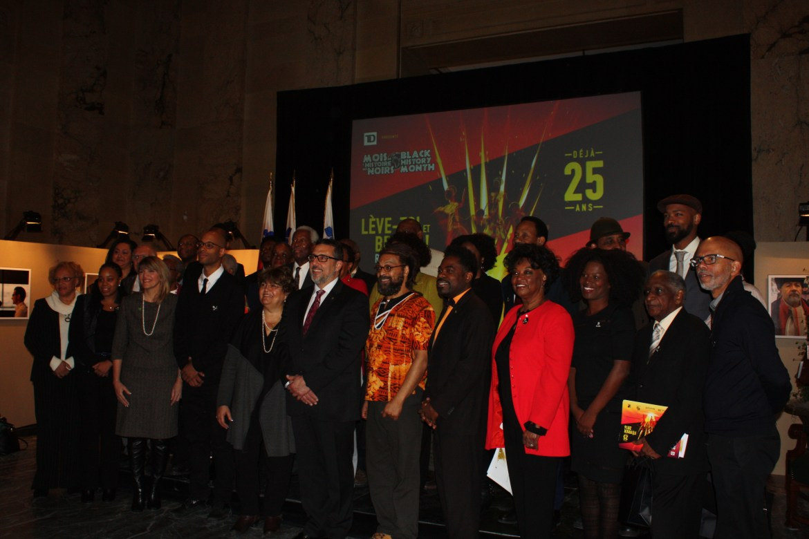 The directive team of the Black History Month, their laureates and partners gather for the 25th anniversary the event's Conference at the City Hall of Montréal on Tuesday 19th, 2016. Photo by Ambre Sachet.