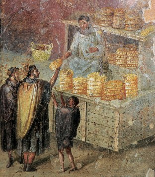 A fresco of the distribution of bread.