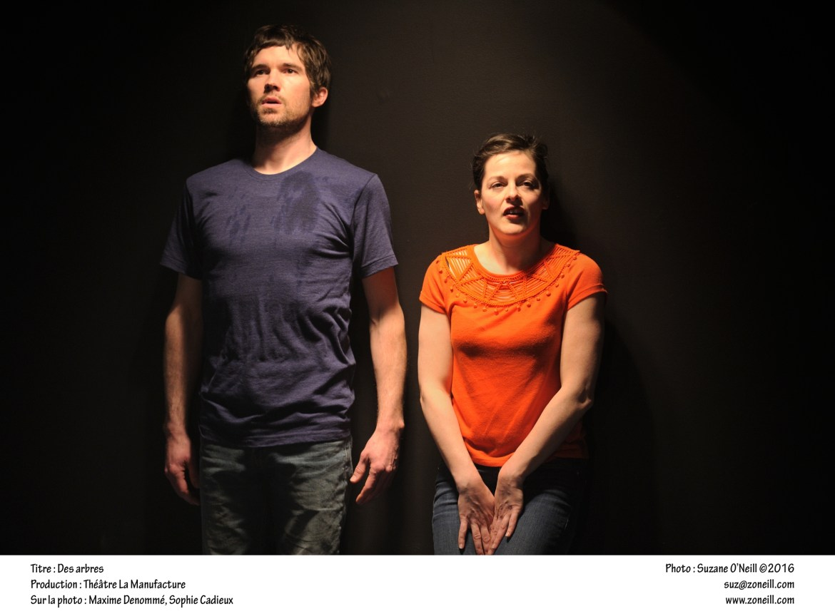 Maxime Denommée and Sophie Cadieux struggle with the choice of procreating in a future world's hostile environment. Photo by Suzane O'Neill.