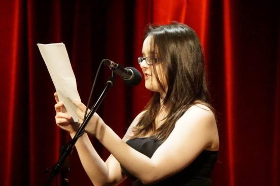 Katerina Gang reading things she wrote as a kid. Photo by Jenna Misener