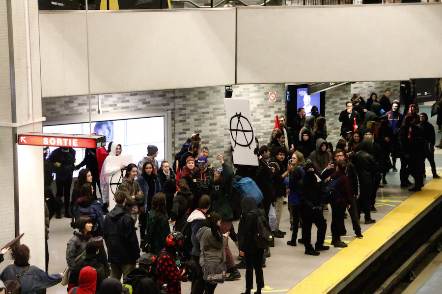 The march concluded at Place-des-Arts station. Photo by Savanna Craig.