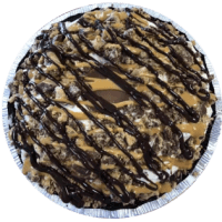 Reese's Cups blended with vanilla ice cream then Reese's Cups, peanut butter sauce, & chocolate dip top added on top. **Crust contains gluten. Egg-free. Contains peanuts.**