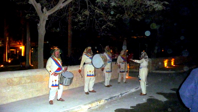 Egyptian 'bagpipe' band serenading us as we leave the sound and light show