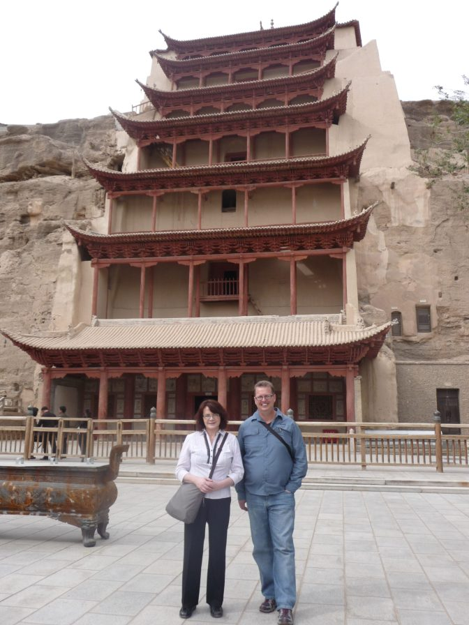 Maria and me in front of the Nine Tiered Pagoda at Mogao