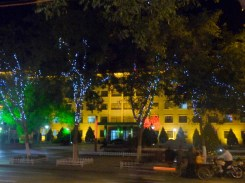 Civic buildings with municipal lighting display, Dunhuang
