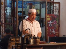Cooking up a storm at the Night Market, Dunhuang