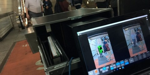 "Officials with Metro and the federal Transportation Security Administration test ""passive"" body scanner at the Seventh Street-Metro Center Station downtown Los Angeles. (File photo by Kyle Stokes/KPCC-LAist)"