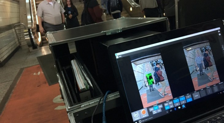 """Officials with Metro and the federal Transportation Security Administration test """"passive"""" body scanner at the Seventh Street-Metro Center Station downtown Los Angeles. (File photo by Kyle Stokes/KPCC-LAist)"""