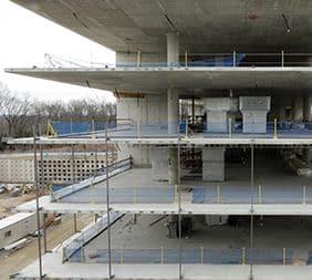 Thin Concrete Floor Constructed Using Prestressed Concrete