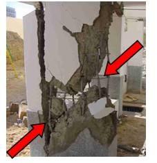 Diagonal cracks in columns jeopardize vertical load carrying capacity of buildings - unacceptable damage