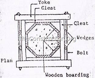 Sectional plan showing details of timber formwork for an octagonal column
