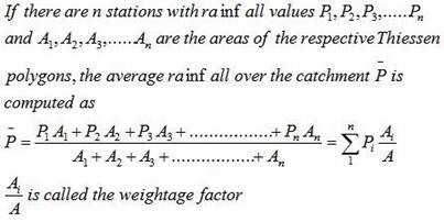 Thiessen Polygon method of mean precipitaion calculation