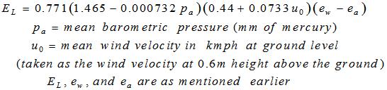 Rohwer's Formula for Evaporation Estimation