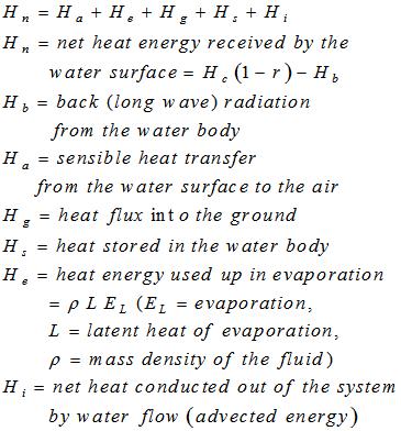 Energy Budget Equation for Evaporation Estimation
