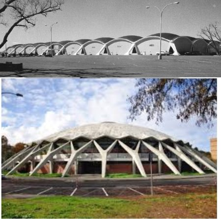 Domes used in the construction of shopping center and sport center