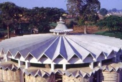 Folded plate dome structure