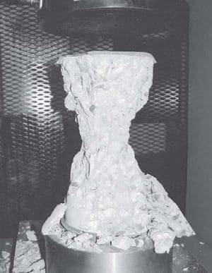 Fractured Concrete Cylinder Specimen at Failure